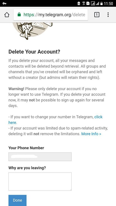 دلت اکانت تلگرام اندروید