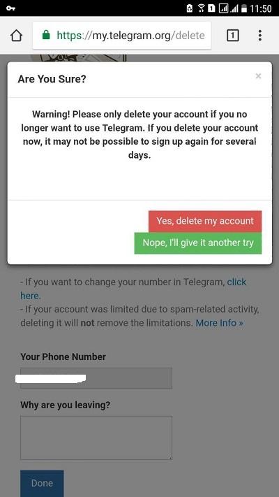 سایت حذف تلگرام